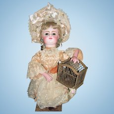 AMAZING Rare Leopold Lambert Automaton - FG Block Head Antique Doll - Fluttering Bird in Cage Layaway