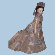 """17"""" Outstanding Jumeau Antique French Fashion Doll - Incredible Silk Gown - Hat Layaway"""