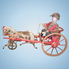 German Antique Doll Pull Toy Circa 1890 - Jockey on Cart with Trotting Pony - Layaway