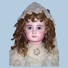 "RARE 31"" Size 15 EJ Antique Doll by Jumeau Circa 1885 - Original Wig, Antique Silk Dress & Parasol Layaway"
