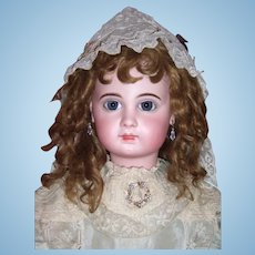 "RARE 31"" Size 15 EJ Antique Doll by Jumeau Circa 1885 - Original Wig, Antique Silk Dress & Parasol Layaway"