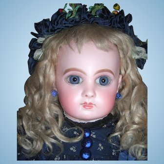 """Cabinet Size 18"""" EJ by Jumeau - Stunning Antique Doll - Working Crier Strings - Rare shop label - Layaway"""