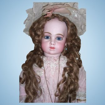 """Stunning 25"""" Circle Dot Bru Antique Doll with Antique Long Tail Wig - Bru Shoes - Layaway"""