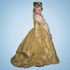 """18"""" Antique French Fashion Doll with Stunning Antique Gown - Barrois - RARE brown eyes - layaway"""