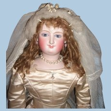 "STUNNING 28"" Antique Bru Smiler French Fashion Doll in Original Bride Gown - Layaway"