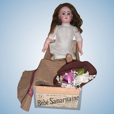 "20 1/2"" RARE Jumeau Antique Doll with Samaritaine Box Original Chemise, Mint Working Crier Strings - Layaway"