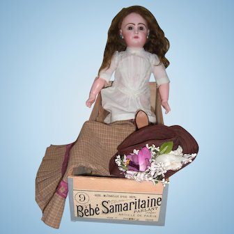"""20 1/2"""" RARE Jumeau Antique Doll with Samaritaine Box Original Chemise, Mint Working Crier Strings - Layaway"""