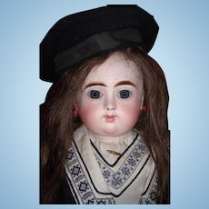 "22"" RARE French Bisque Antique Doll by Henri Alexandre in Antique Mariner Dress- hat Circa 1890 Layaway"