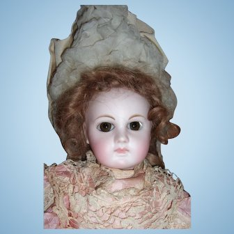 """Cabinet Size 14"""" Early Premiere Jumeau Antique Doll 8 ball body - Two dresses!  Layaway"""