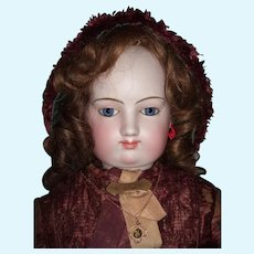 """Majestic 35"""" Exhibition Antique French Fashion Doll Spiral Eyes w/Accessories, Bustle, Original Dress - Layaway"""