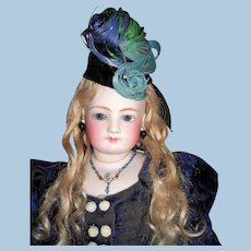 """20"""" Antique French Fashion Doll  With Bisque Arms - Antique Clothing, Wig, Fantastic Boots - Layaway"""