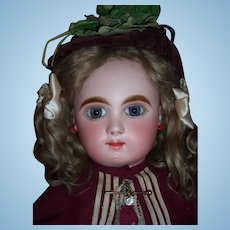 """RARE 28"""" Bebe Mascotte Antique Doll by May Freres with Marked Body - Atnique Dress Wig Layaway!"""