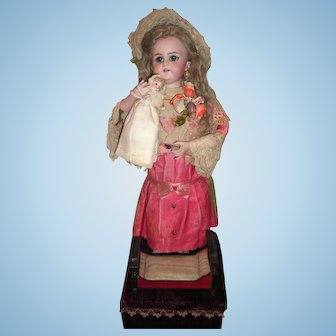 """23"""" Antique French Automaton Doll with Baby & Cradle - Layaway"""