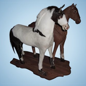 TOO SWEET Double Horse Antique Pull Toy - Perfect for Doll Display - Layaway!