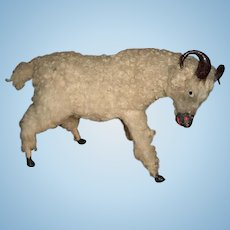 "Antique Wooly Ram 8"" Perfect to Display with Antique Dolls"