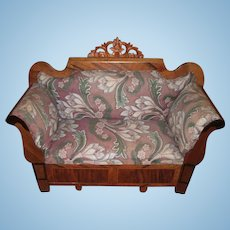 RARE Circa 1840 Horsehair Stuffed Sofa For Antique French Fashion Doll Hidden Compartment Layaway!