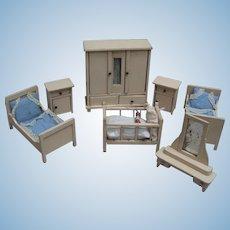 All Original 7 Piece Antique Doll House Wood Furniture Circa 1920 - original bedding - layaway