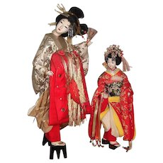 """Spectacular 25"""" Japanese Twin Doll Display from Toy Museum - Layaway"""