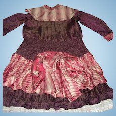 Incredible Antique Silk Dress with Bustle for Large Doll or Display 1880's - Layaway