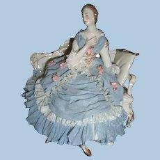 Darling Blue Dresden Lace Figurine