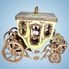 "3 1/2"" by 5"" Viennese Enamel Coach with Elaborate Painting for Display with Antique Dolls  - Layaway"