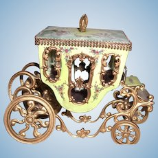 "3 1/2"" by 5"" Viennese Enamel Coach Carriage with Elaborate Painting for Display with Antique Dolls  - Layaway"