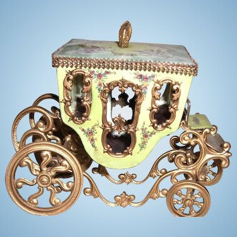 """3 1/2"""" by 5"""" Viennese Enamel Coach with Elaborate Painting for Display with Antique Dolls  - Layaway"""