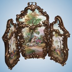 "Viennese Austrian Enamel Folding Screen Hand Painted 5"" Tall Doll house or Display - Layaway!"