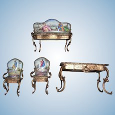 Viennese Austrian Enamel Four Piece Set - Hand Painted - Doll House or Collection - Layaway