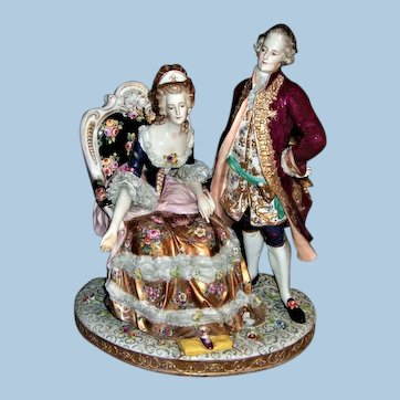 Large & Stunning Dresden Lace Figurine by Triebner Ens Circa 1900 - Layaway