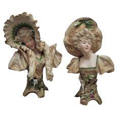 "Pair of 10"" Austrian Bisque Busts Eleganty Dressed Women - Layaway"