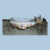 Antique Viennese Enamel & Bronze Carriage for Mignonette Display - Layaway