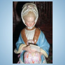 "8"" Meissen Figurine of Lady with Racing Card & Muff - Layaway!"