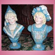 Antique Victorian Busts-Renaissance Man & Woman w/Coat of Arms