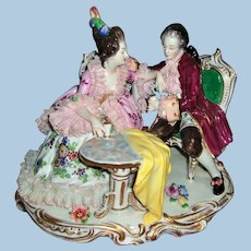 Large Dresden Lace Figurine -Romantic Couple Enjoying Drinks - Layaway