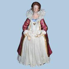 Unusual German Dresden Porcelain Lace Queen Elizabethan - Layaway