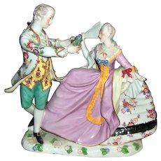 "10"" Large Dresden Figurine of Dancing Couple - Crinoline Dress - Layaway"