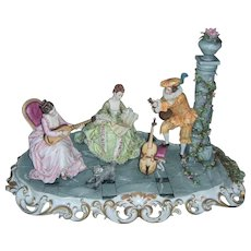 "Large 20"" Capodimonte Porcelain Figural Grouping with Dresden Lace - Italy - Layaway"