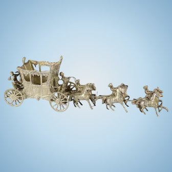Fabulous Antique Continental Silver Miniature Carriage - Coach with Six Horses - Layaway!