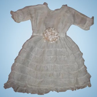 Beautiful Organdy French Antique Doll Dress for Bebe or French Fashion - layaway.