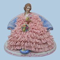 Beautiful Large Dresden Porcelain Lace Figurine - Layaway