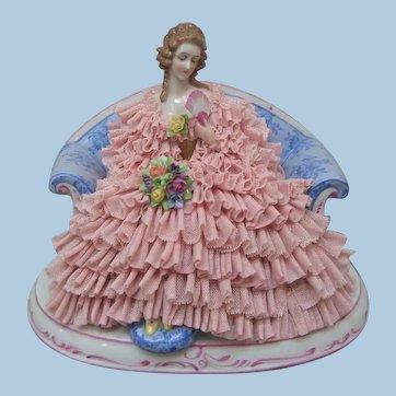 Beautiful Large Dresden Porcelain Lace Figurine - Layaway