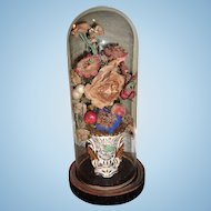 "15"" Antique Victorian Flower Display in Dome"