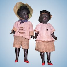 "MINT Pair of Gebruder Kuhnlenz Black Twin Dolls in Original Factory Clothing 5 1/2"" Tall - Layaway"