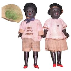 Pair of Black German Bisque Dollhouse Dolls by Gebruder Kuhnlenz - Layaway