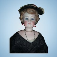 "18"" German Fashion Antique Doll W/Lower Bisque Arms - Original Black Silk Gown - Layaway"