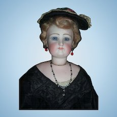 "18"" German Fashion Antique Doll W/Lower Bisque Arms - Original Black Silk Gown - Layaway"