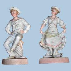 Pair of Dancing Sailor Bisque Figurines Attributable to Heubach - Layaway