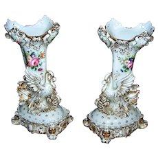 Elegant Pair of French Jacob Petit Porcelain Swan Trumpet Vases - 1800's - layaway