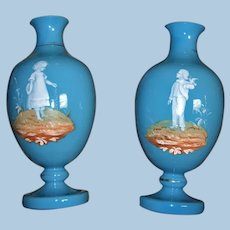 Mary Gregory Blue Opaline Pair of Antique Vases Circa 1890's